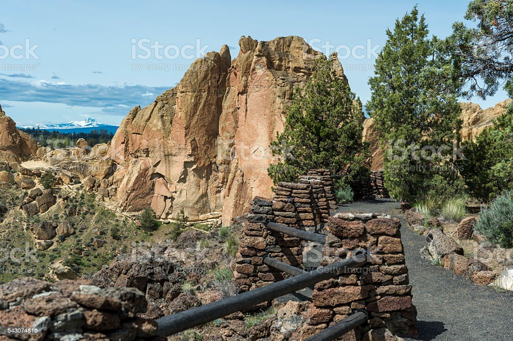 Rim Rock Trail View at Smith Rock State Park Oregon stock photo