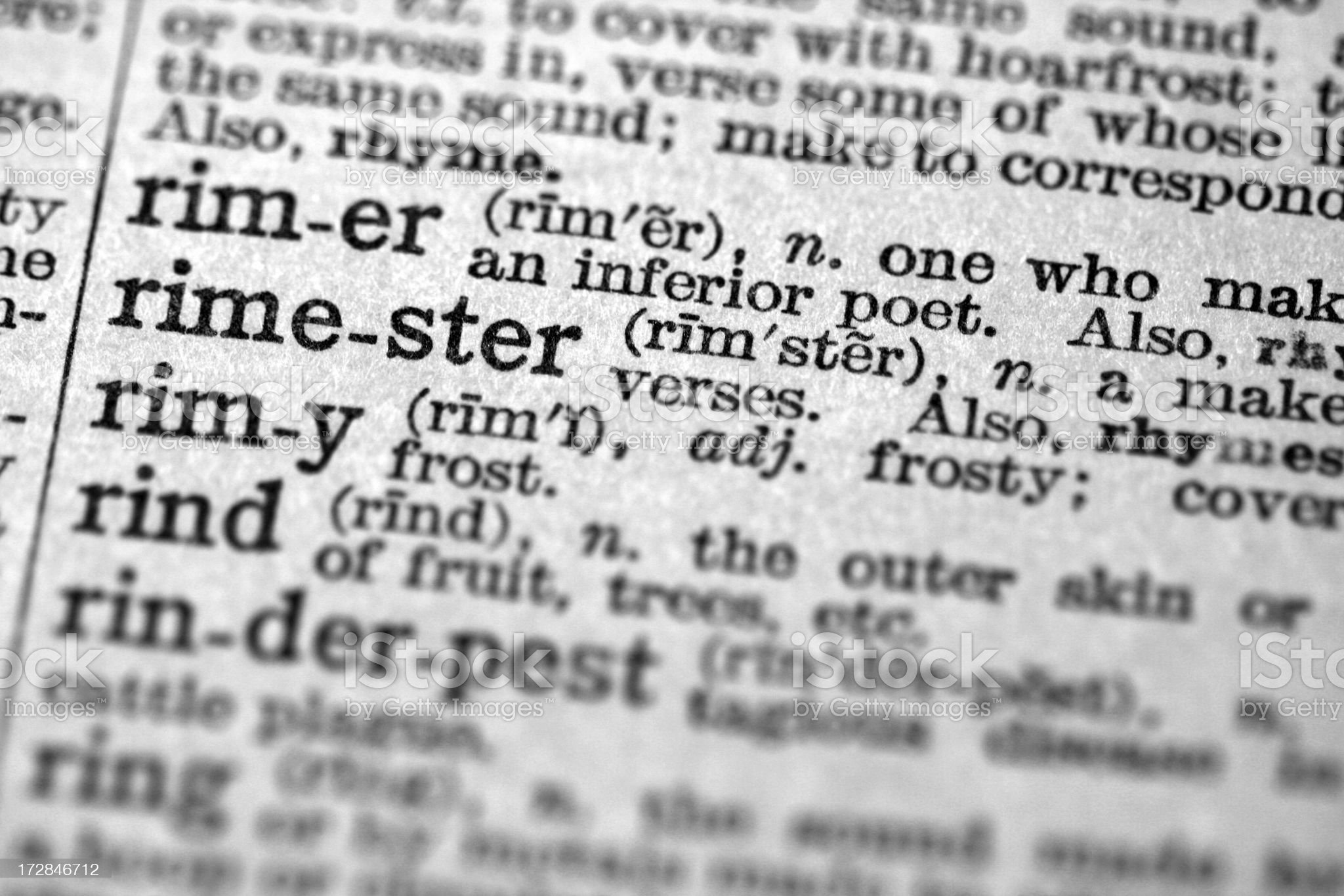 Rimester Unique word dictionary definition royalty-free stock photo