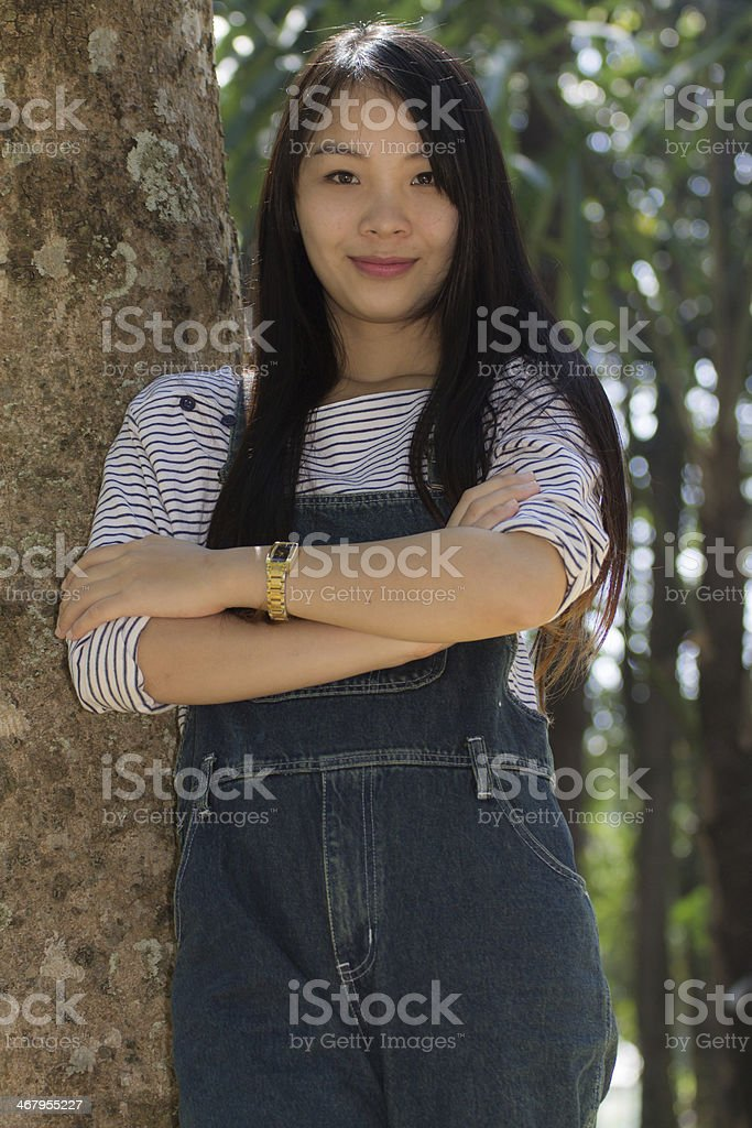 Rimight Portrait Beautiful asian woman stock photo