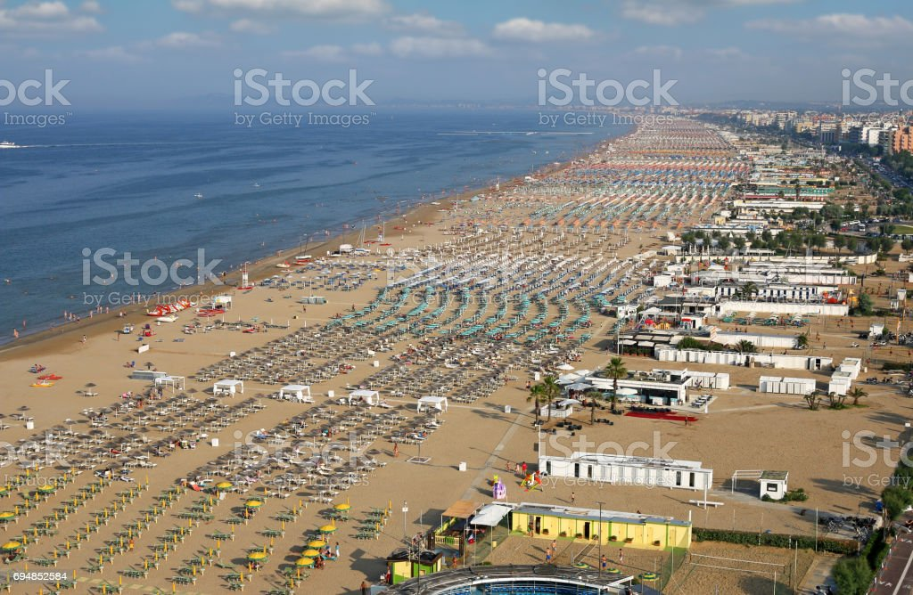 Rimini beach Adriatic sea landscape summer season stock photo