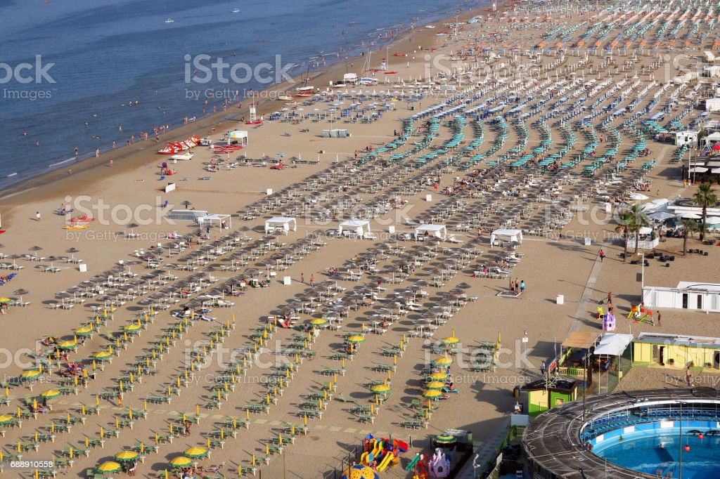 Rimini beach Adriatic sea summer season Italy stock photo