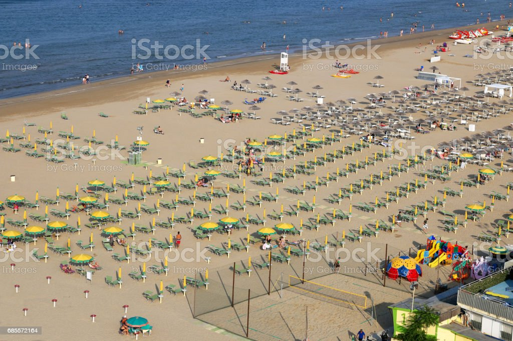 Rimini beach aerial view Italy summer season stock photo