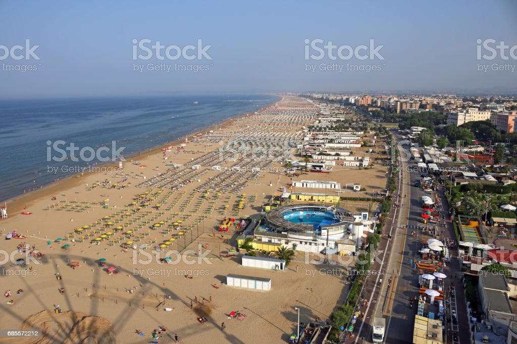 Rimini beach and city Italy aerial view summer season stock photo