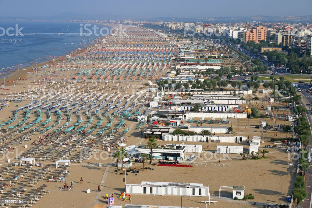 Rimini beach and city Italy summer season stock photo