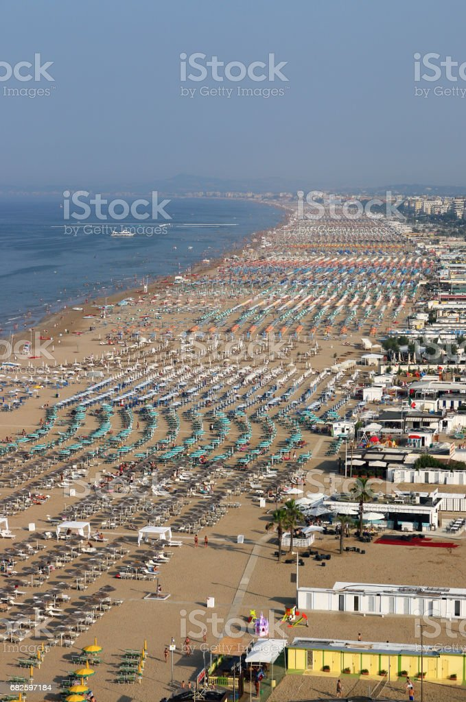 Rimini beach Italy aerial view summer season stock photo