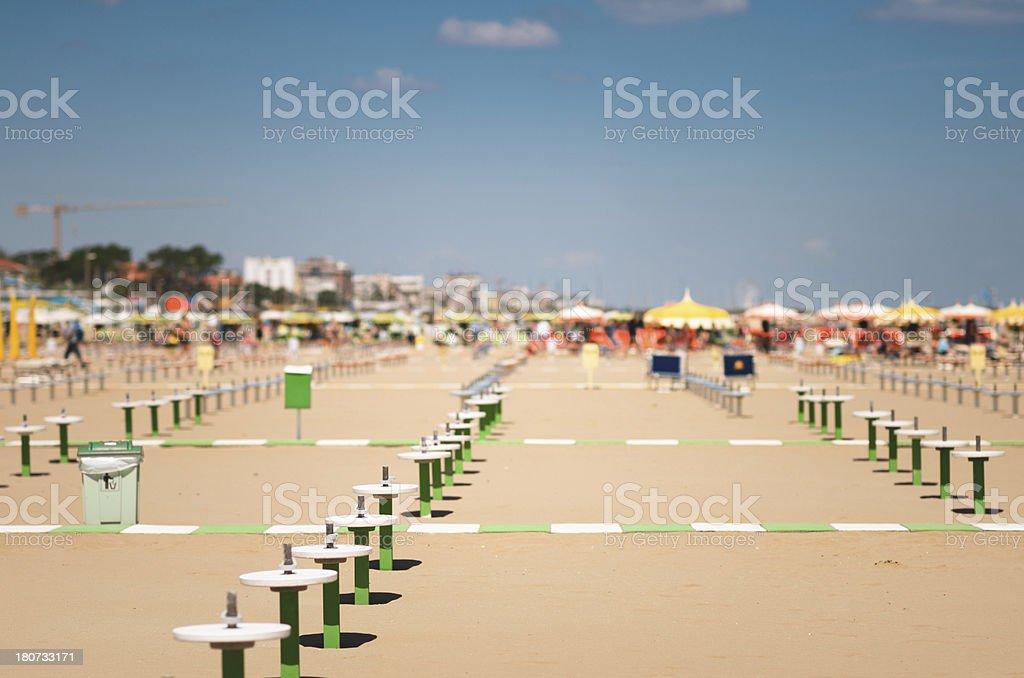 Rimini beach lidos on summer royalty-free stock photo
