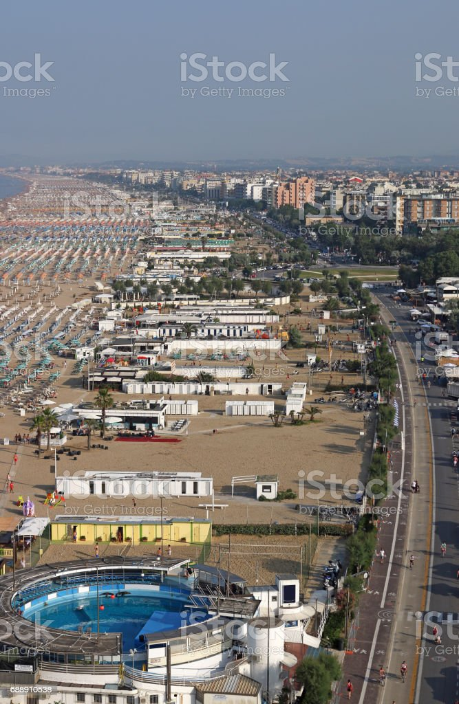 Rimini city and beach Adriatic sea summer season stock photo