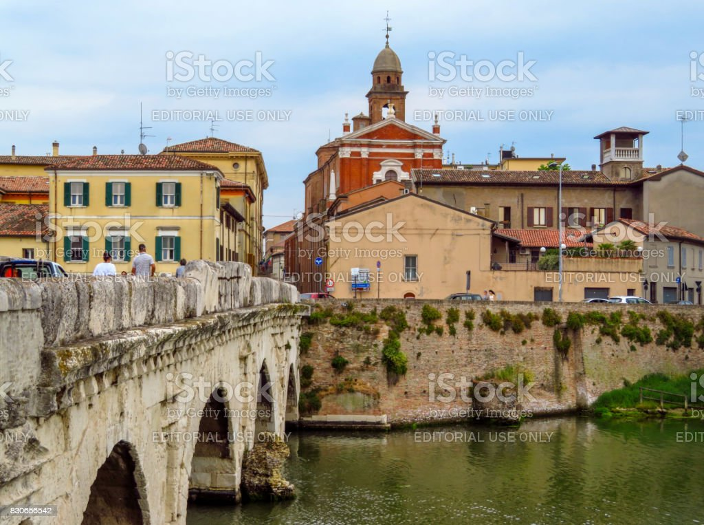 Rimini - Old city and Tiberius Bridge stock photo