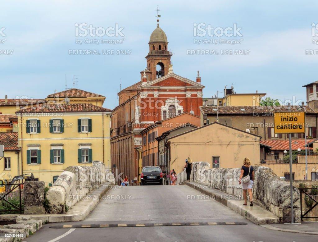 Rimini - Old city from Tiberius Bridge stock photo
