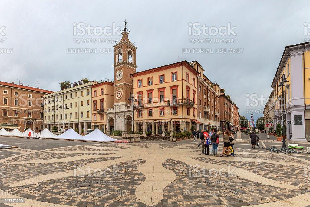 Rimini, Piazza Tre Martiri - Italy stock photo