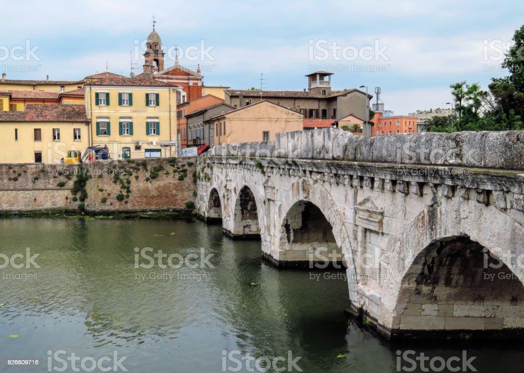 Rimini - Tiberius Bridge stock photo