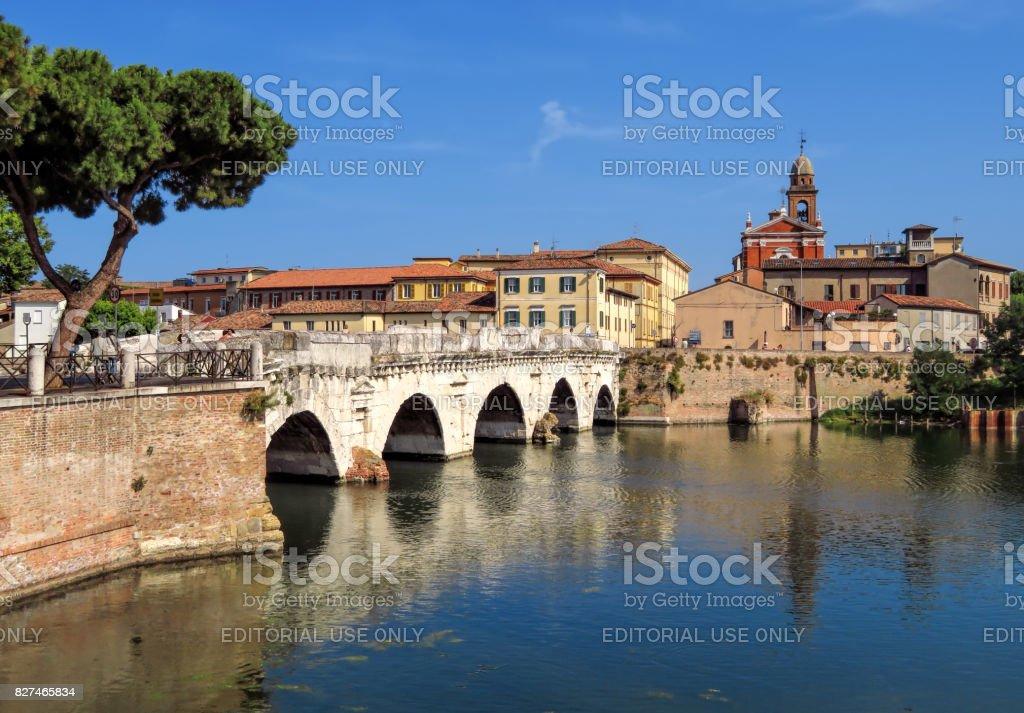 Rimini-E - Tiberius Bridge stock photo