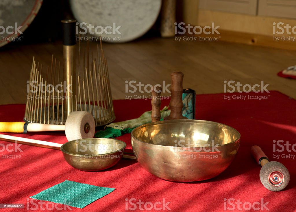Rin gong, aquaphone, mallets and drum stock photo