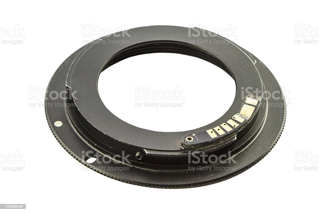 Ring adapter mouth for camera isolate on white background royalty-free stock photo