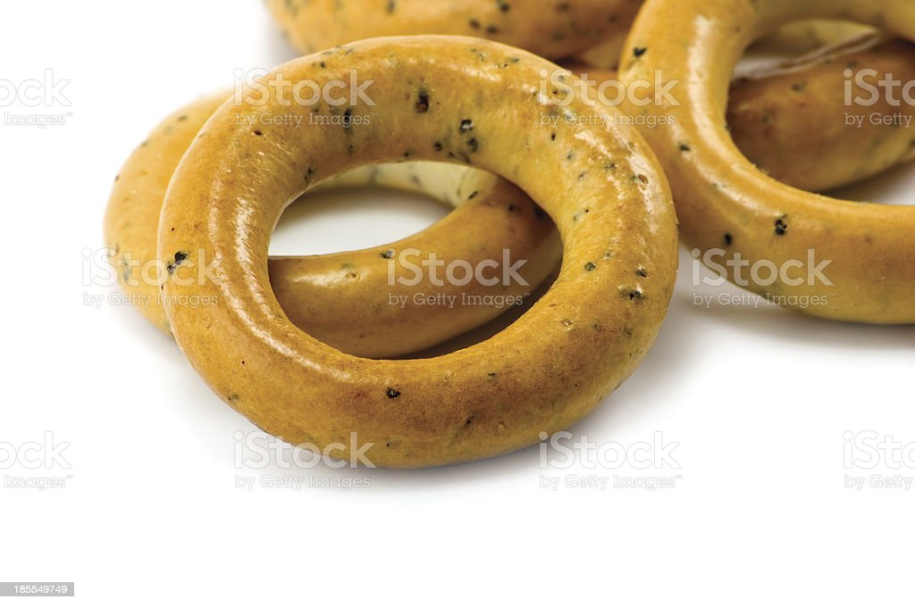Ring Bagels Stack Isolated Macro Closeup royalty-free stock photo