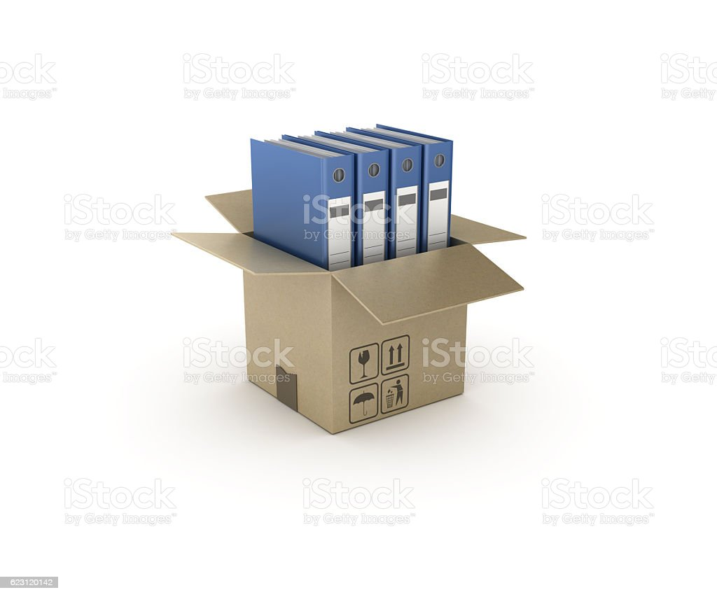 Ring Binders and Open CardBoard Box - 3D Rendering stock photo
