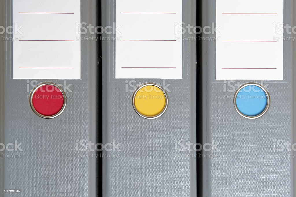 Ring binders in a row with copyspace stock photo