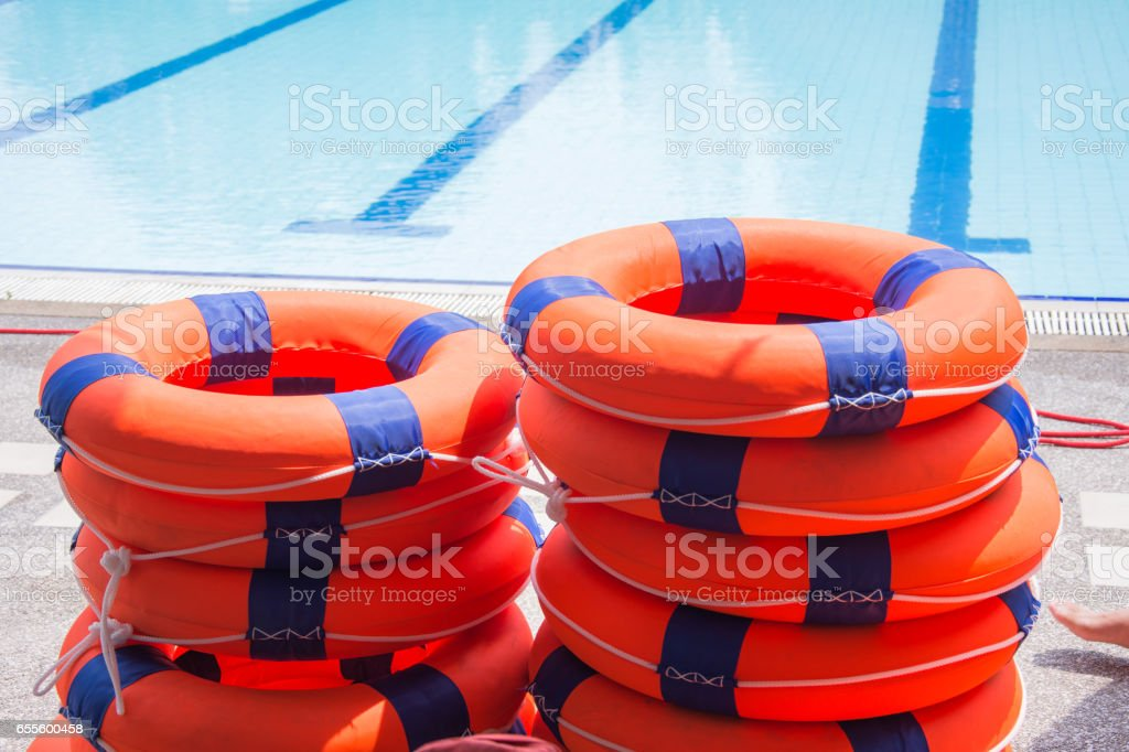 ring buoy lifesaving nearside the pool equipment rescue water stock photo