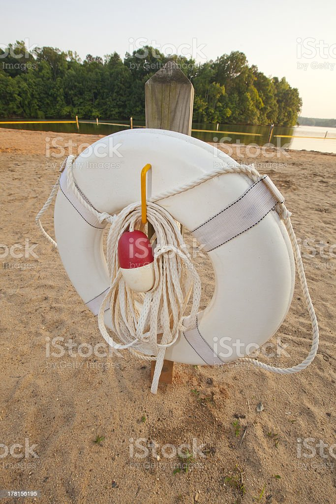 Ring Buoy on a Beach royalty-free stock photo
