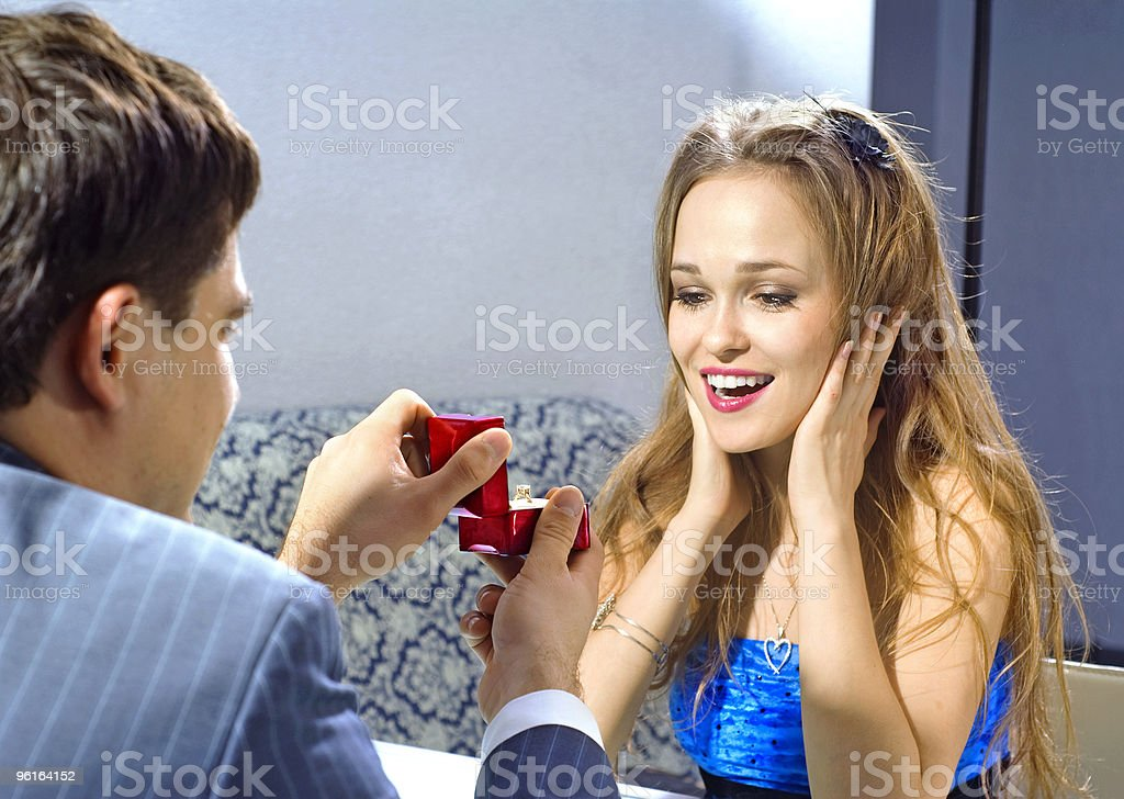 ring for blonde woman stock photo