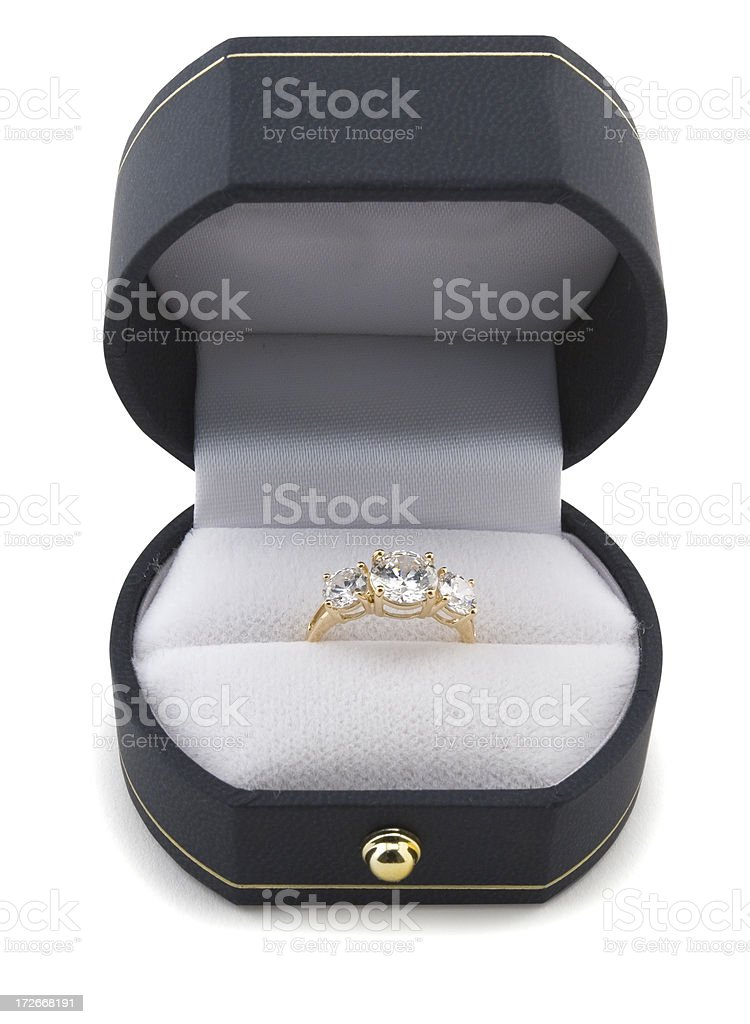 Ring in box with clipping path stock photo