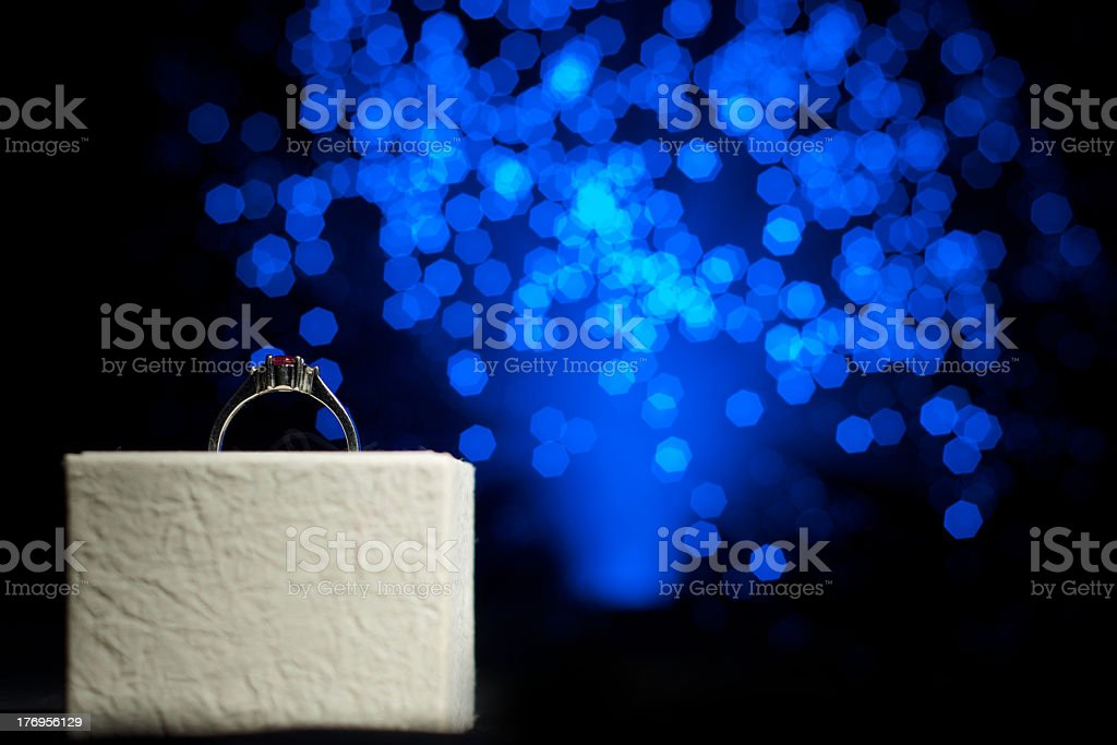 Ring in gift box with abstract light background royalty-free stock photo