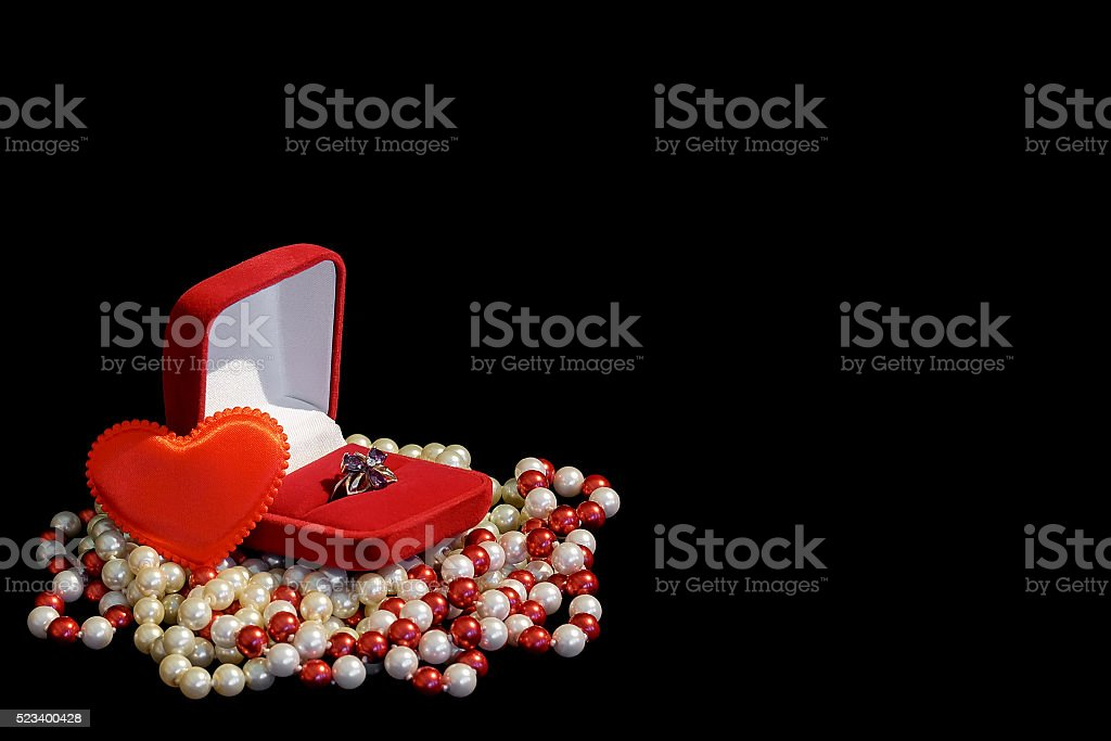 Ring in the red box stock photo