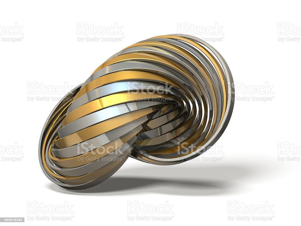 Ring made of overlapping metal in many layers. stock photo