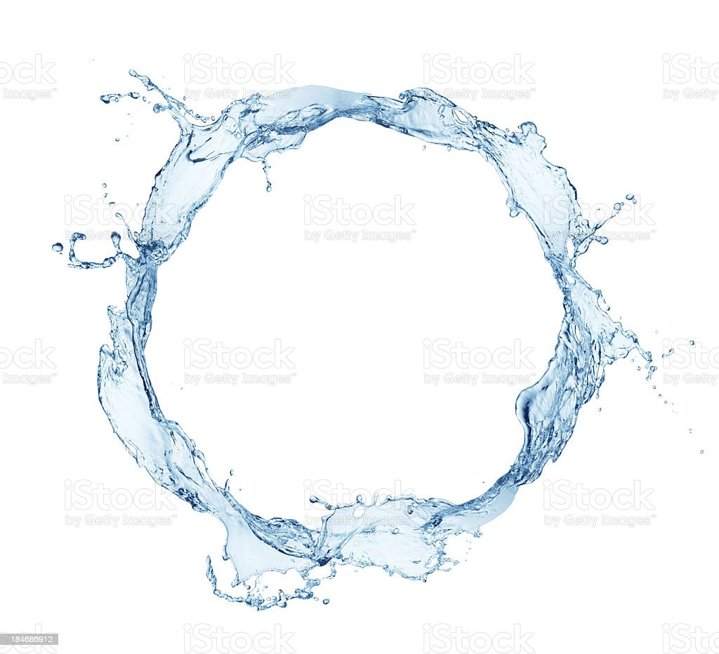 A ring of blue water splashing against a white background stock photo