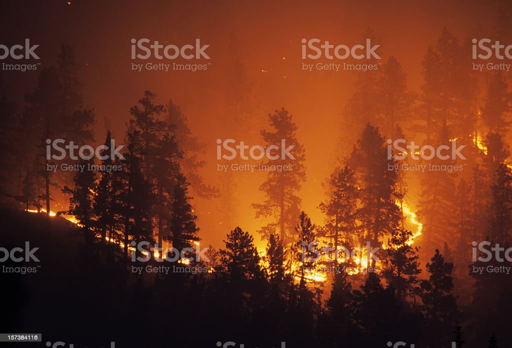 Ring of fire Bailey Colorado Rocky Mountain forest wildfire stock photo