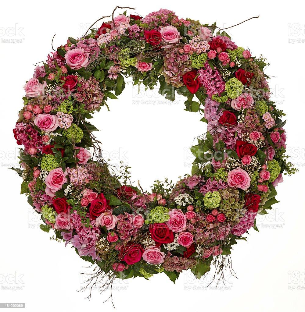 Ring of roses studio shot on white stock photo