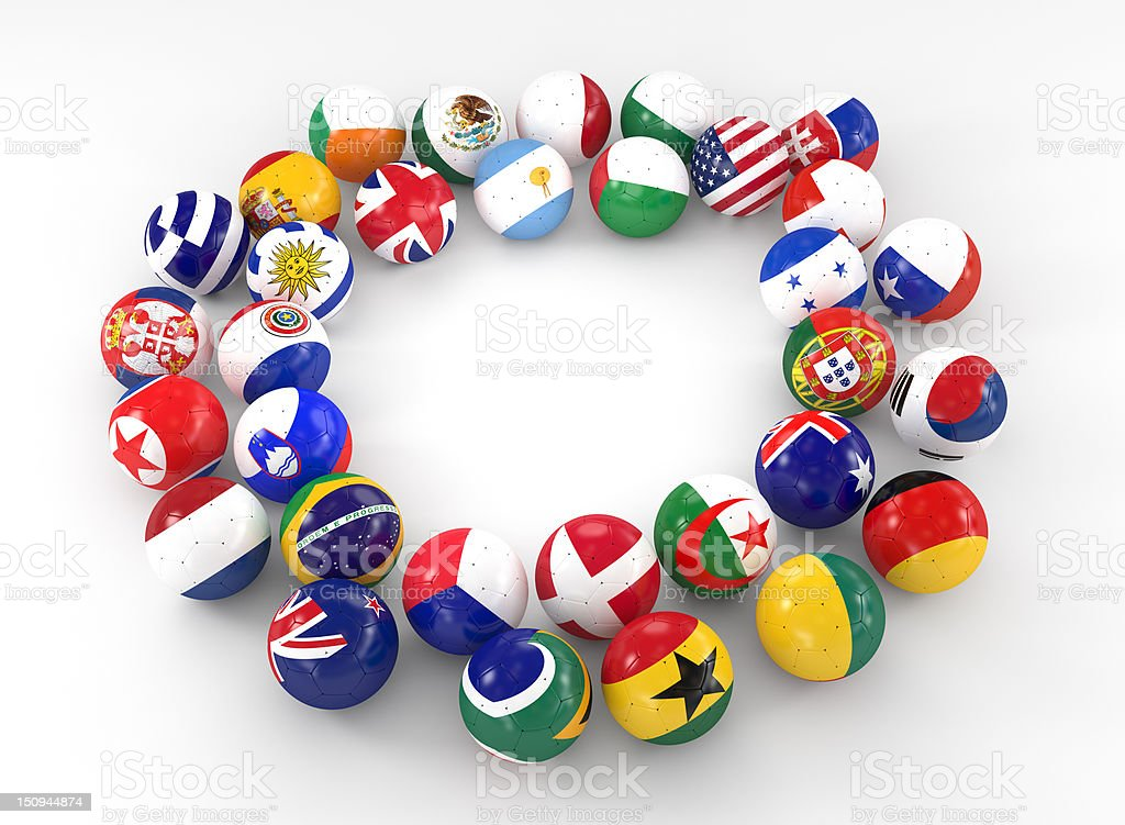 Ring of Soccer Balls with International Flags royalty-free stock photo