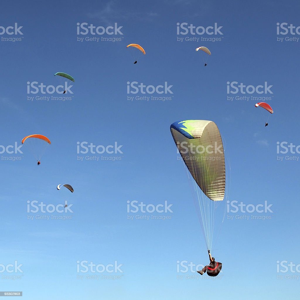 Ring of the paragliders stock photo