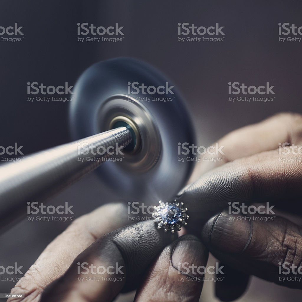 Ring Polishing stock photo