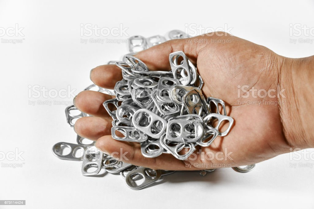 Ring pull aluminum of cans stock photo