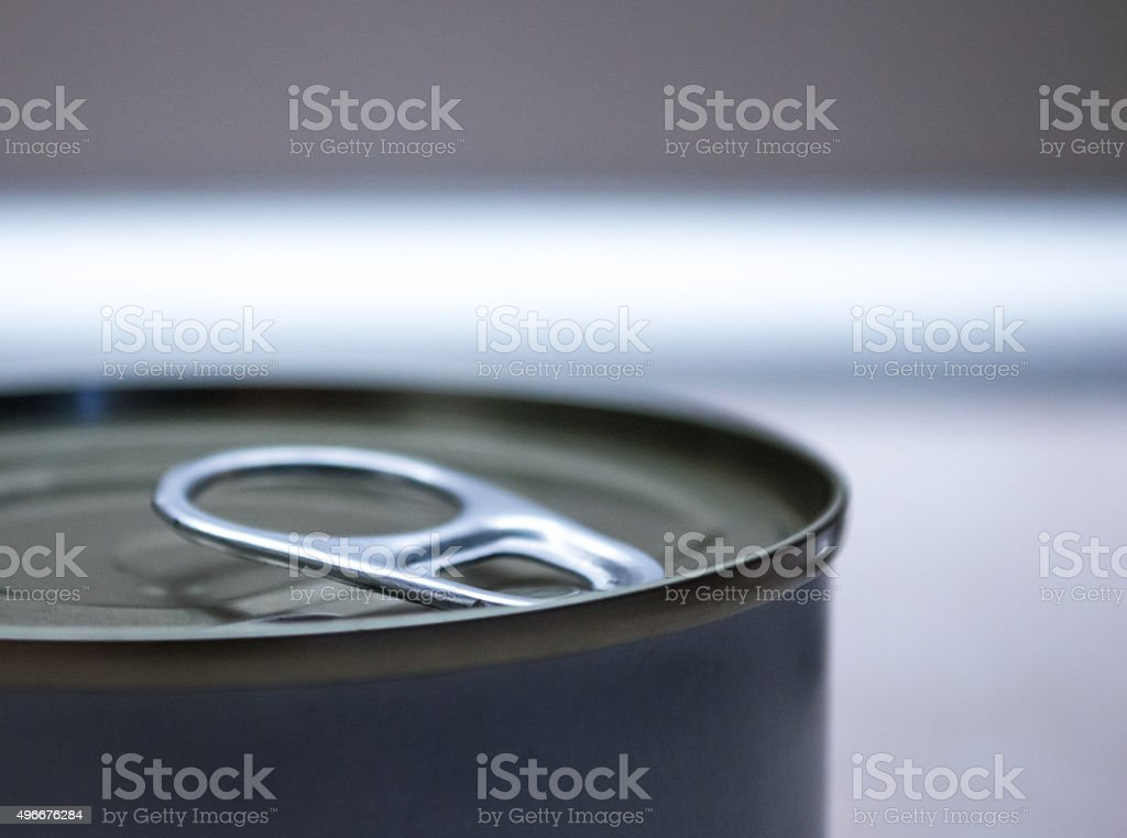 Ring Pull on a Metal/Tin Can Close Up Background royalty-free stock photo