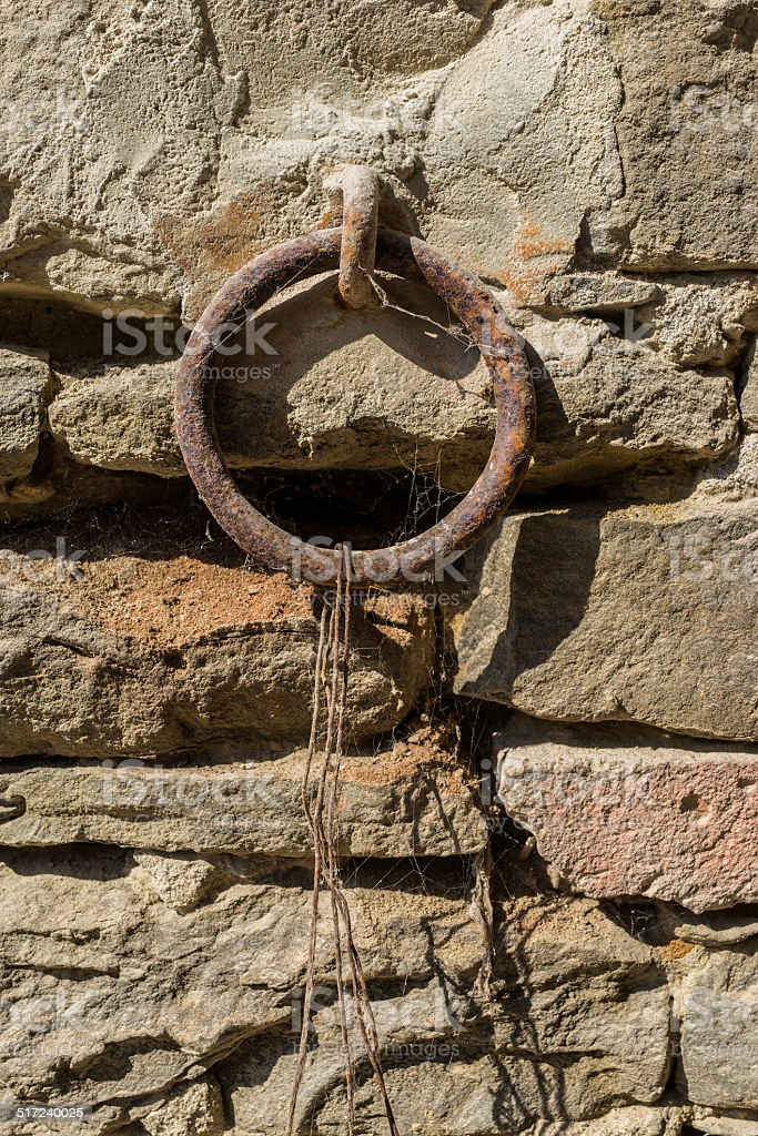 Ring to tie horses in Langhe (Unesco World Heritage site) stock photo