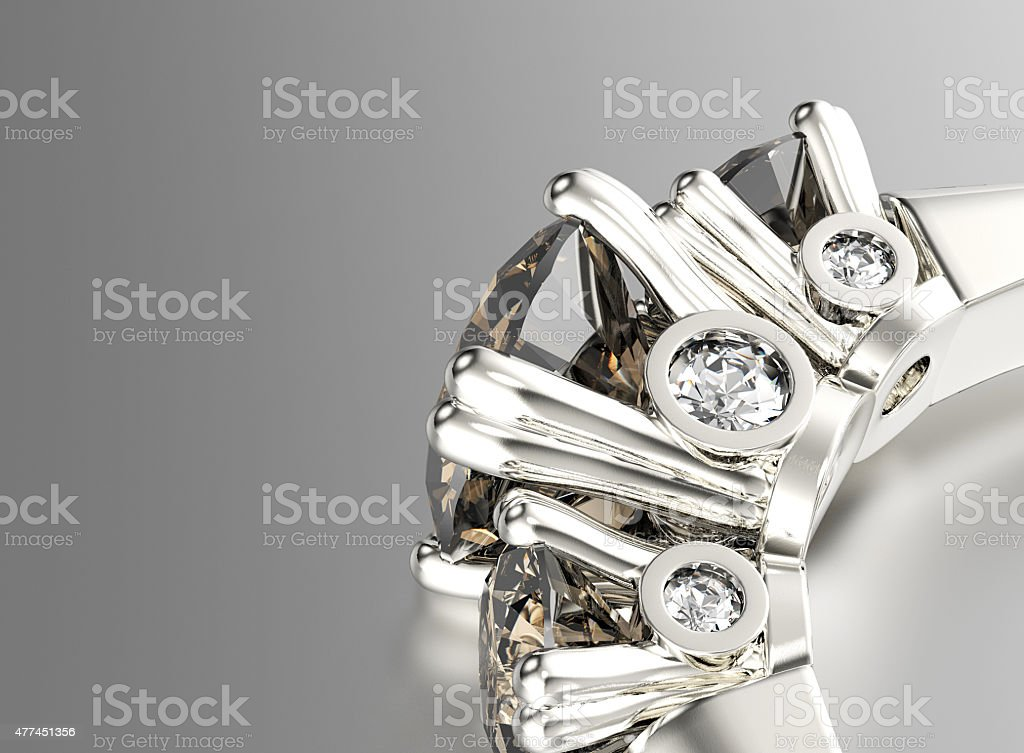 Ring with Diamond. Jewelry background stock photo
