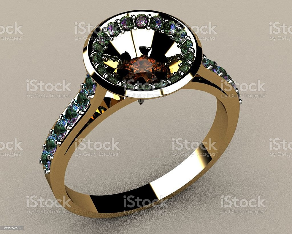Ring with Red Diamond stock photo
