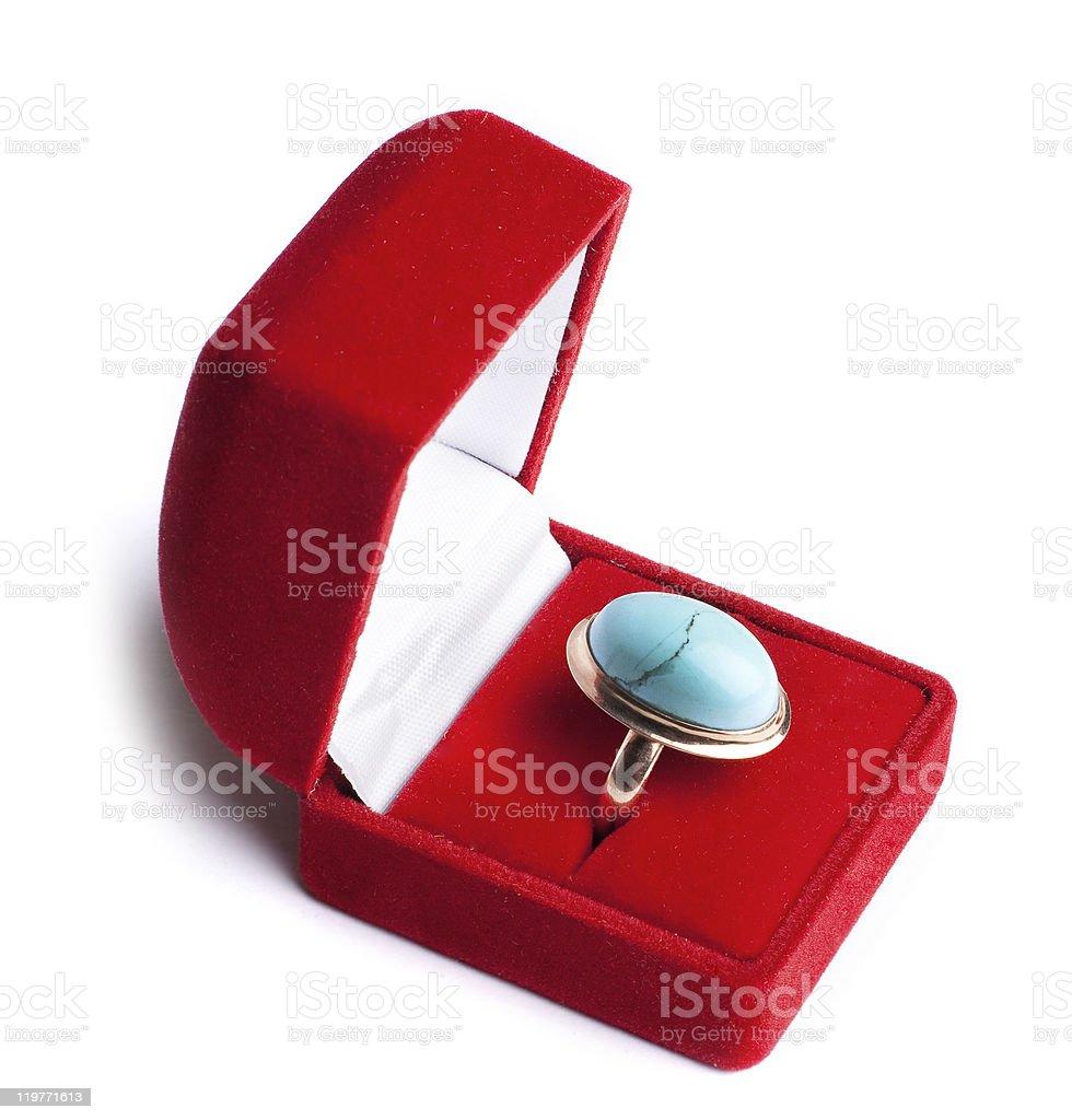 Anillo con turquesa en red box foto de stock libre de derechos