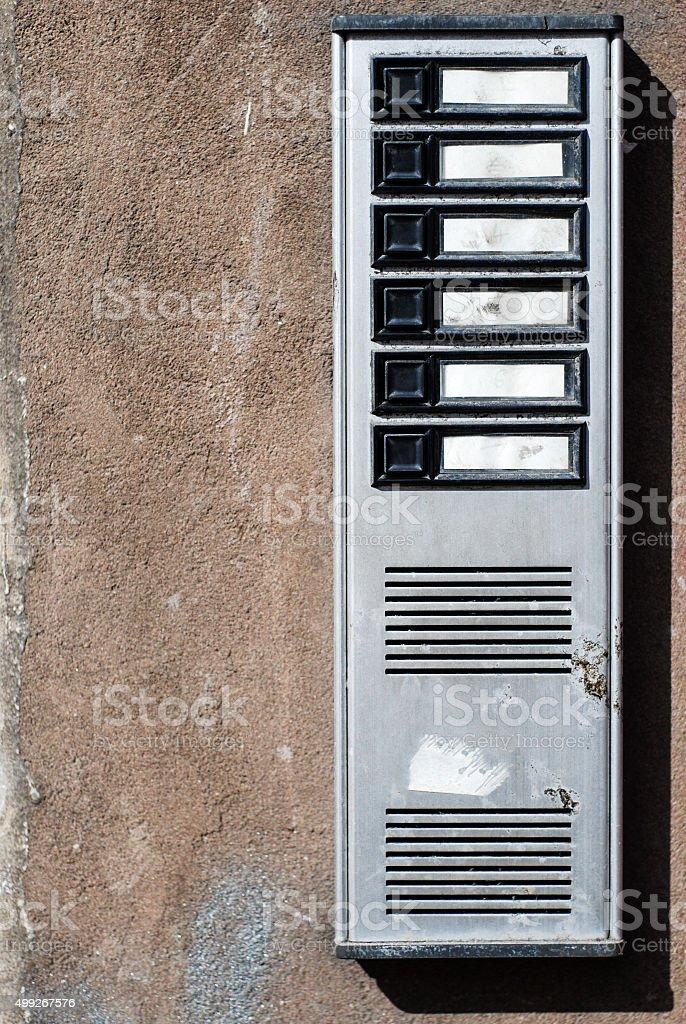 Ringbell doorbell buzzer intercom button stock photo