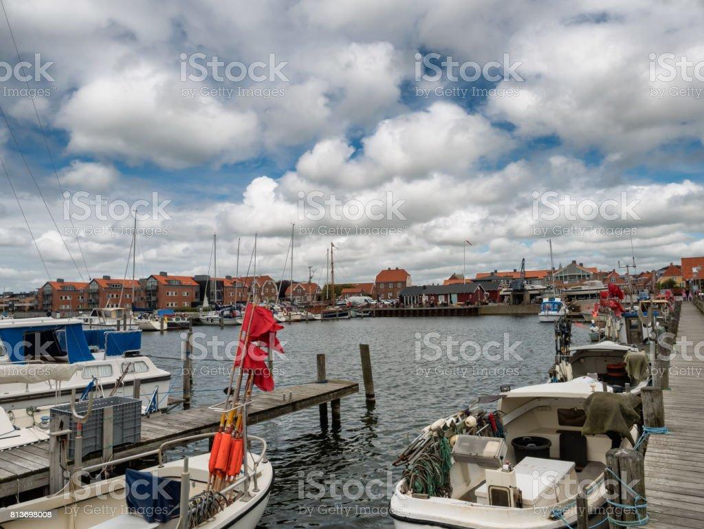 Ringkobing harbor in Jutland, Denmark stock photo