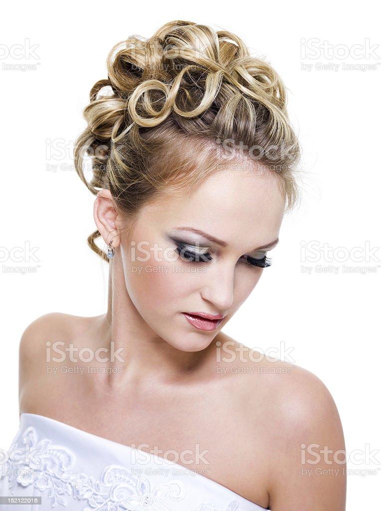 ringlet wedding hairstyle royalty-free stock photo