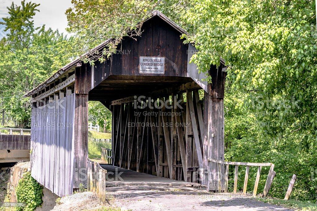 Ringos Mills Covered Bridge - close up stock photo
