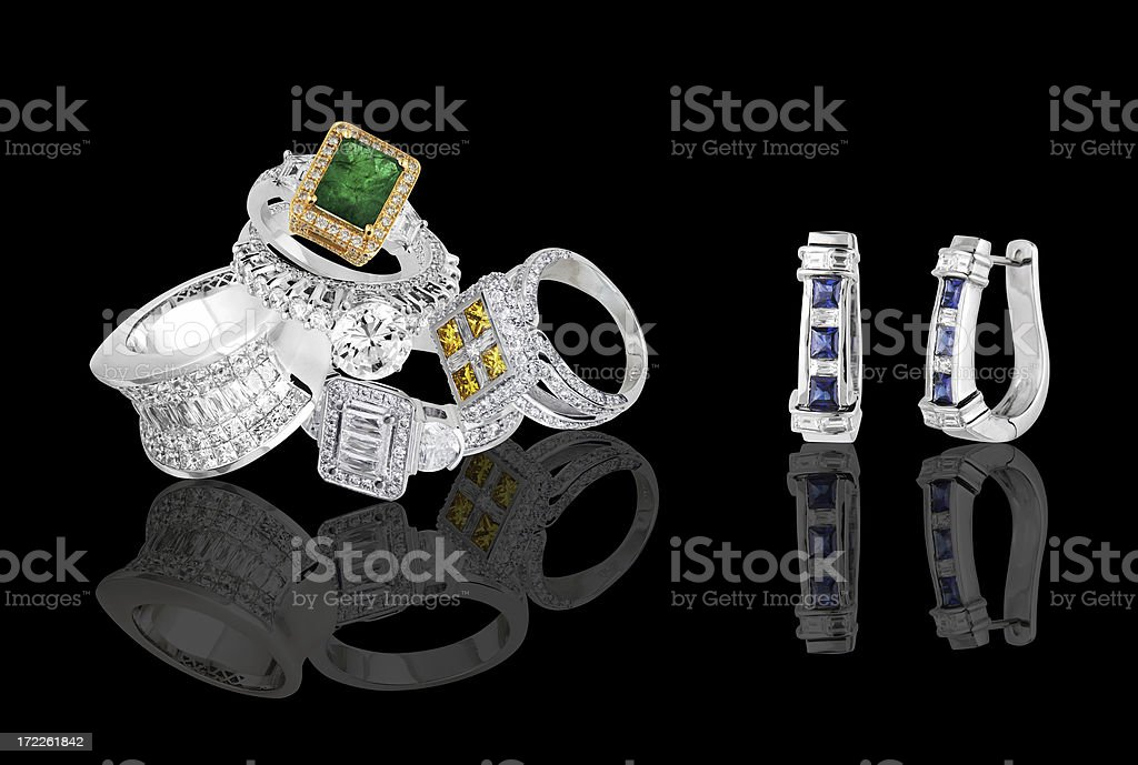 rings and earrings royalty-free stock photo