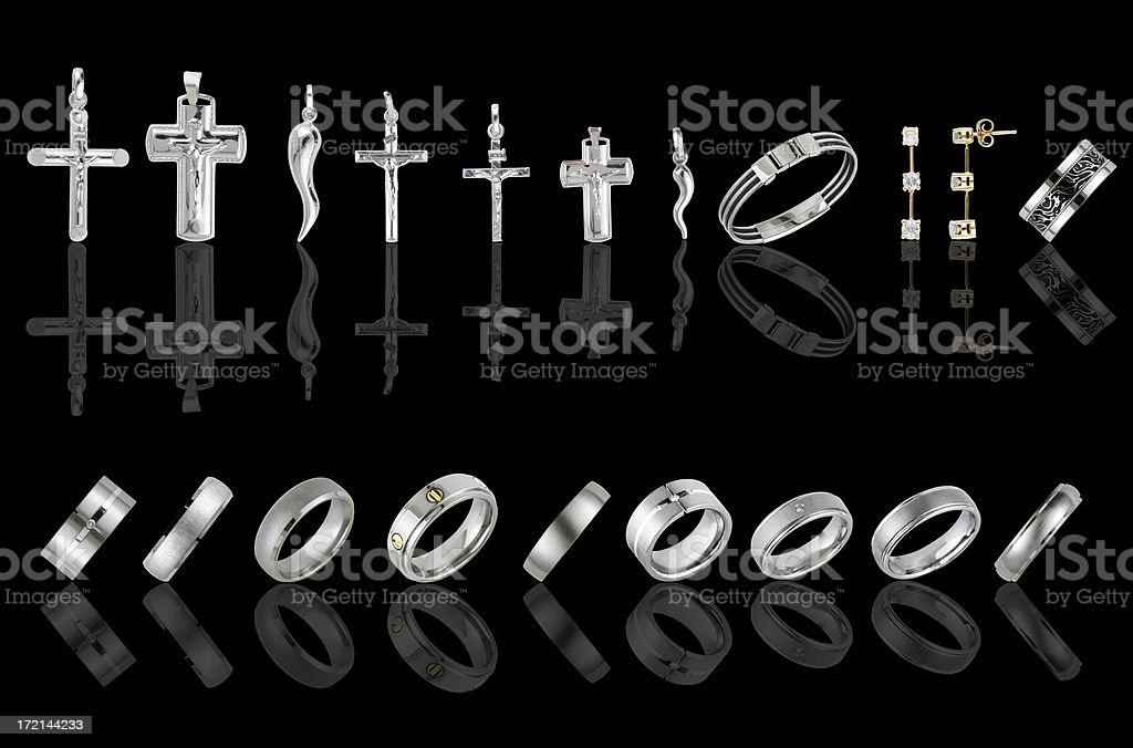 rings and pendants collection royalty-free stock photo