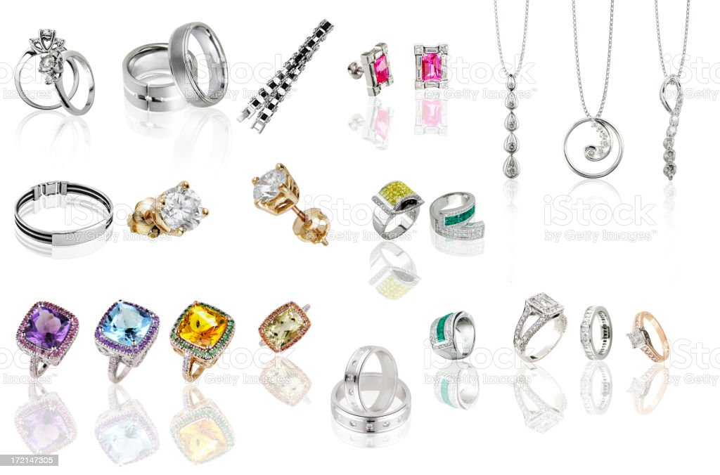 rings and pendants -white background royalty-free stock photo