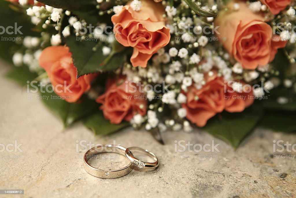 Rings and roses royalty-free stock photo
