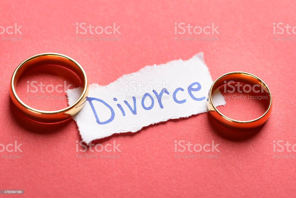 Rings On Piece Of Paper With Divorce Text stock photo