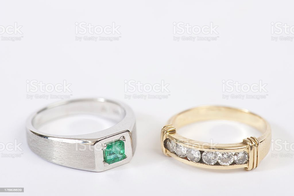 Rings with diamonds and emerald stock photo